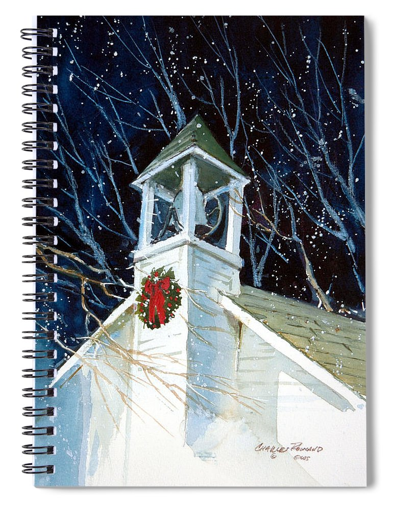 Liberty. Liberty Barn Church. Christmas Spiral Notebook featuring the painting Liberty Christmas by Charles Rowland