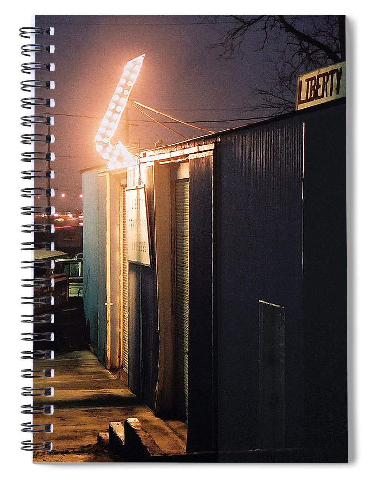 Night Scene Spiral Notebook featuring the photograph Liberty by Steve Karol
