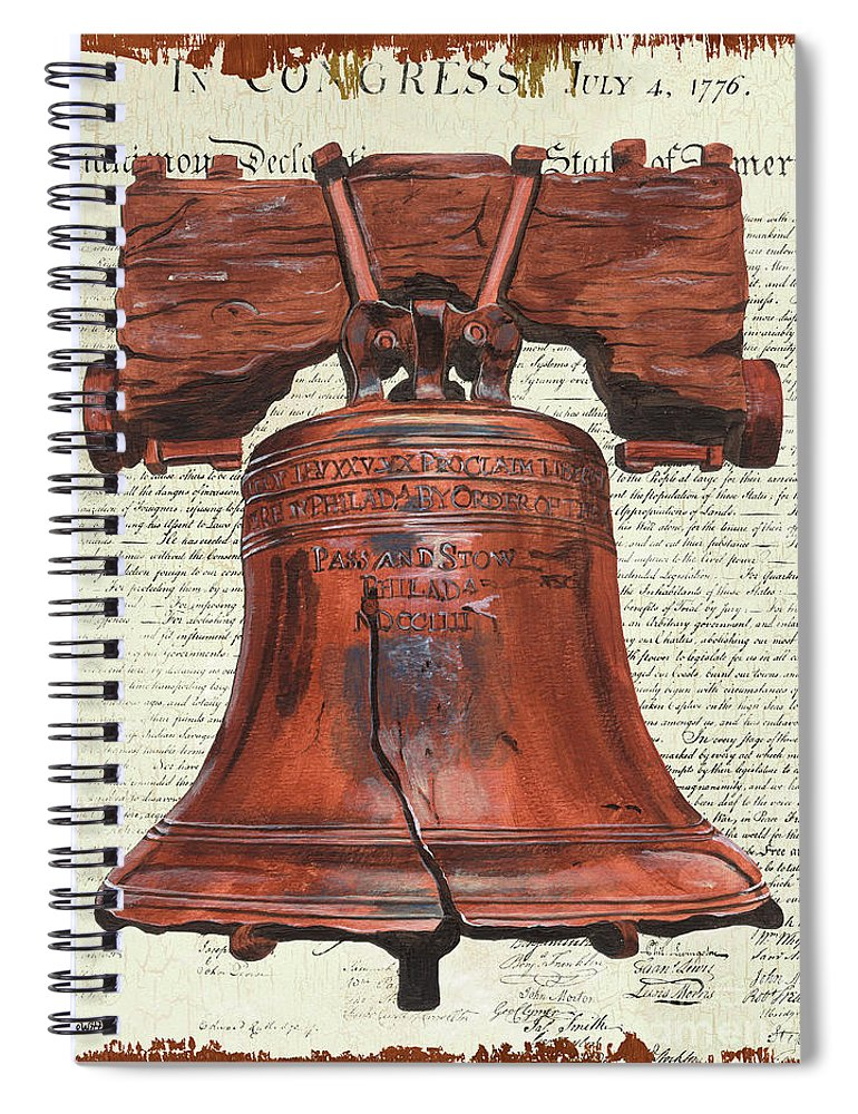 Bell Spiral Notebook featuring the painting Life And Liberty by Debbie DeWitt