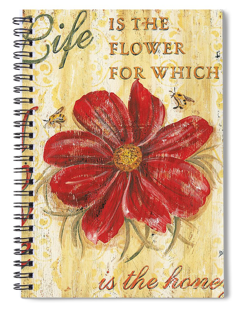 Flower Spiral Notebook featuring the painting Life is the Flower by Debbie DeWitt