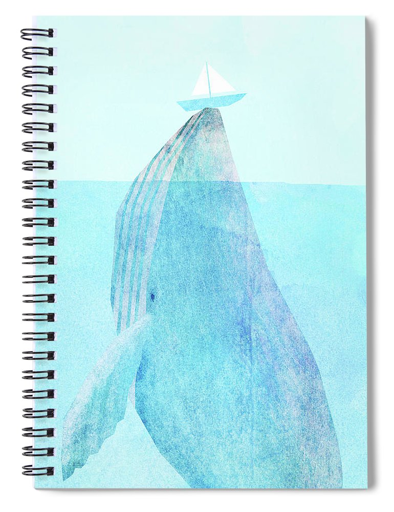 Whale Spiral Notebook featuring the drawing Lift option by Eric Fan
