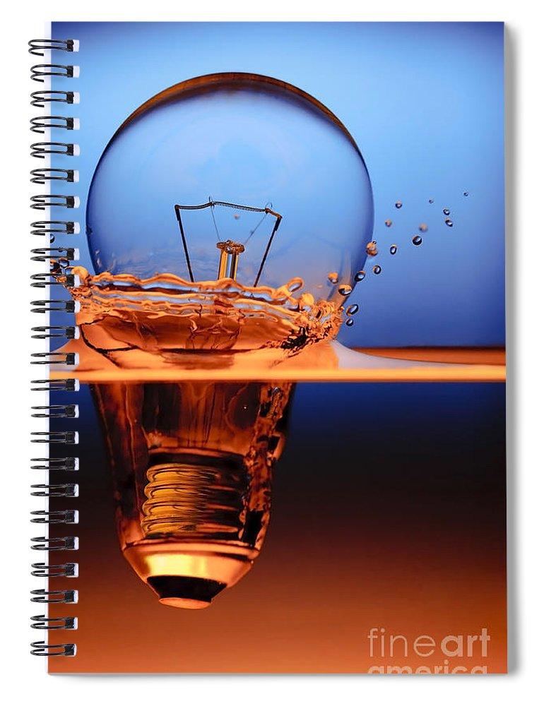 Alternative Spiral Notebook featuring the photograph Light Bulb And Splash Water by Setsiri Silapasuwanchai