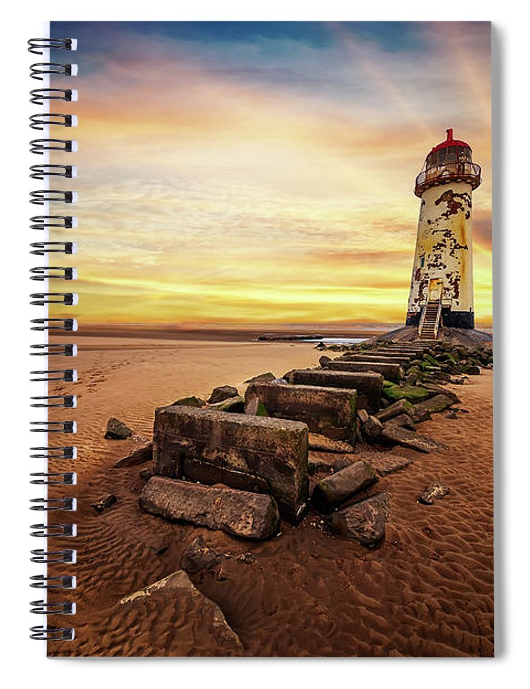 Lighthouse Spiral Notebook featuring the photograph Lighthouse Sunset Wales by Adrian Evans