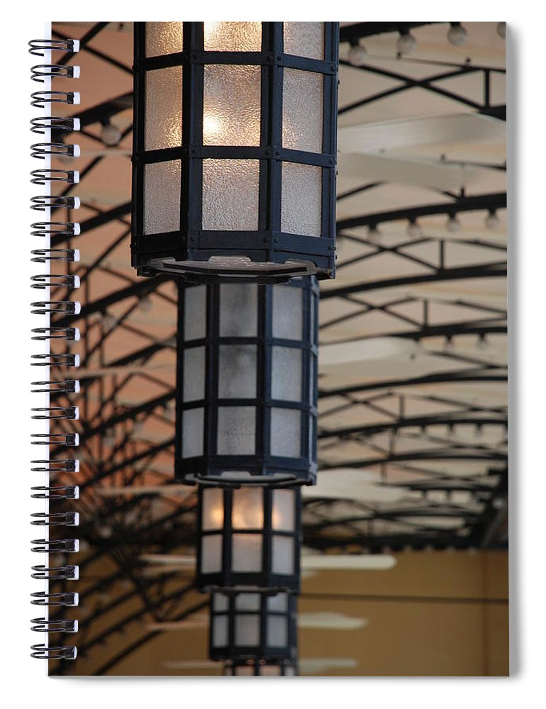 Architecture Spiral Notebook featuring the photograph Lights At City Place by Rob Hans
