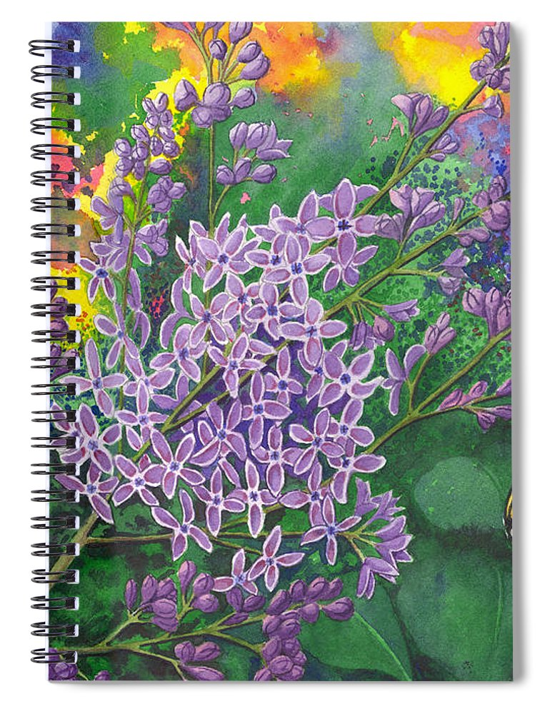 Lilac Spiral Notebook featuring the painting Lilac by Catherine G McElroy