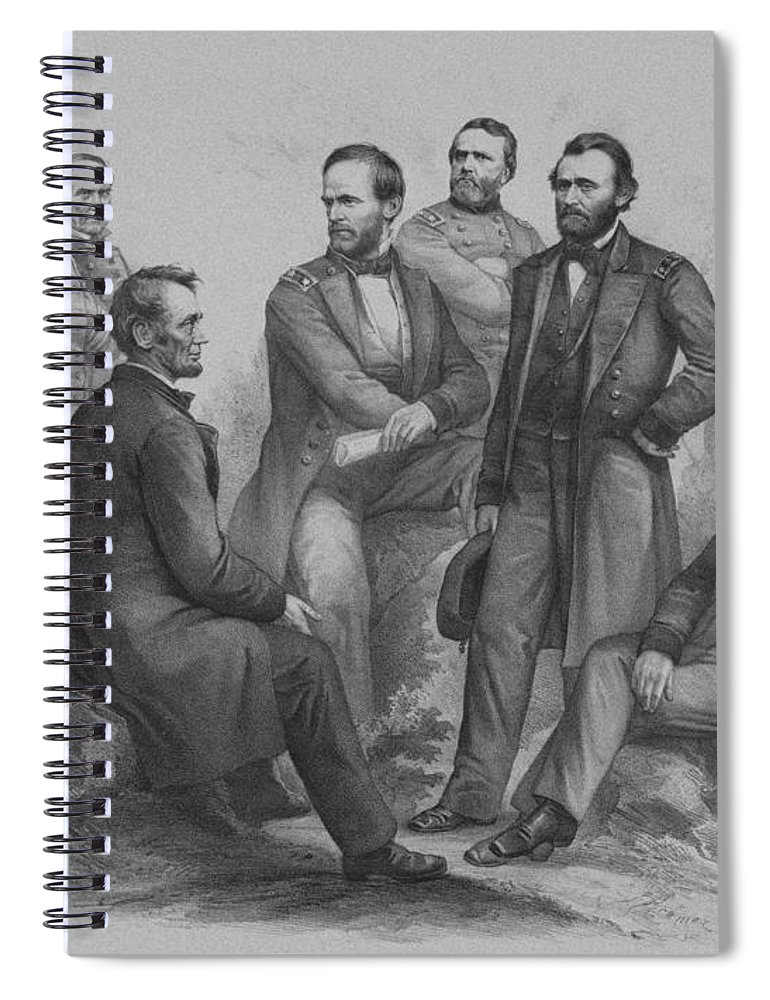 Civil War Spiral Notebook featuring the drawing Lincoln and His Generals by War Is Hell Store