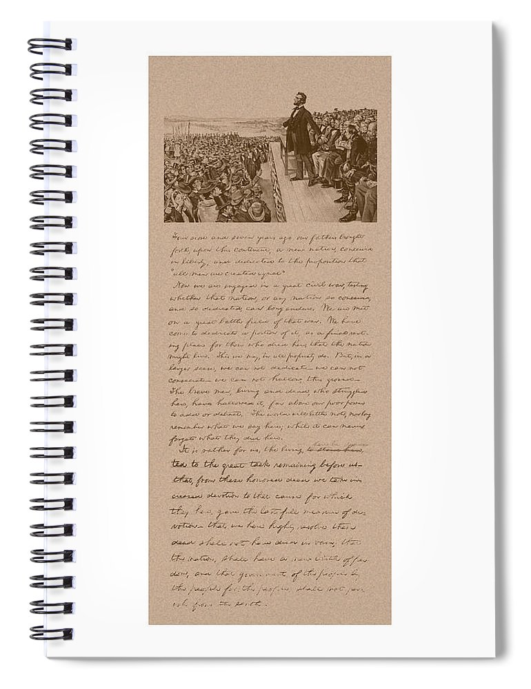Abraham Lincoln Spiral Notebook featuring the mixed media Lincoln And The Gettysburg Address by War Is Hell Store