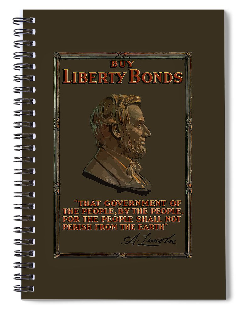 Abe Lincoln Spiral Notebook featuring the painting Lincoln Gettysburg Address Quote by War Is Hell Store
