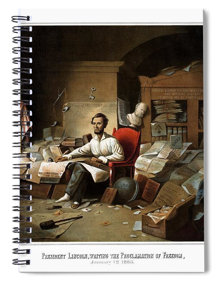 Abraham Lincoln Spiral Notebook featuring the painting Lincoln Writing The Emancipation Proclamation by War Is Hell Store