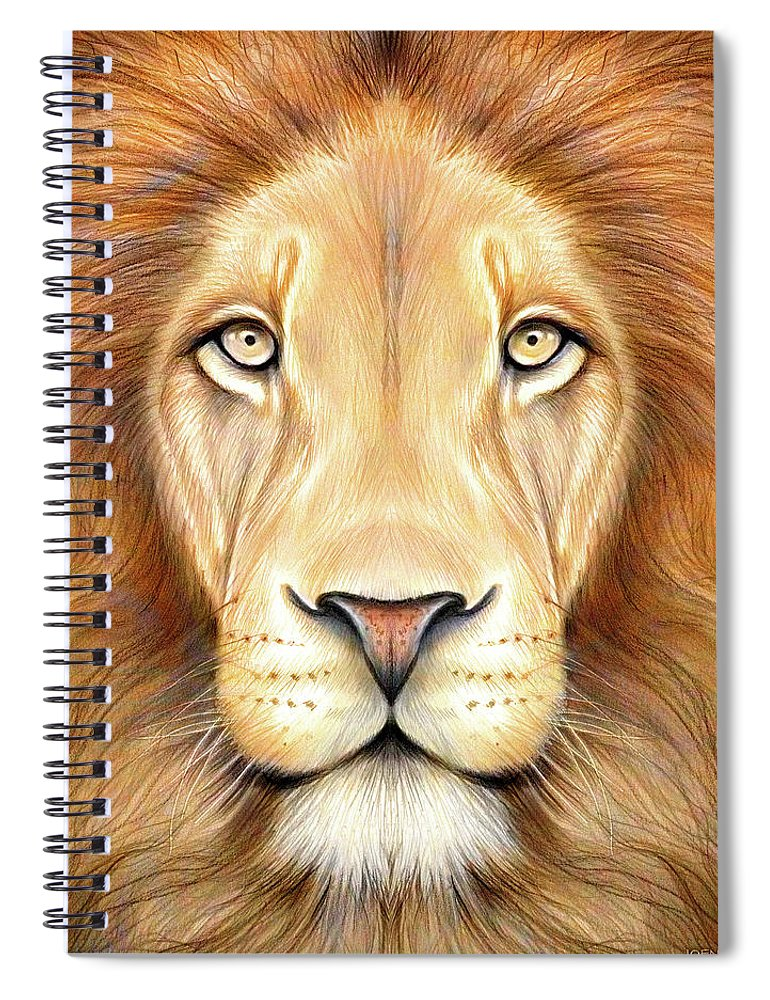 Lion Head Spiral Notebook featuring the drawing Lion Head In Color by Greg Joens