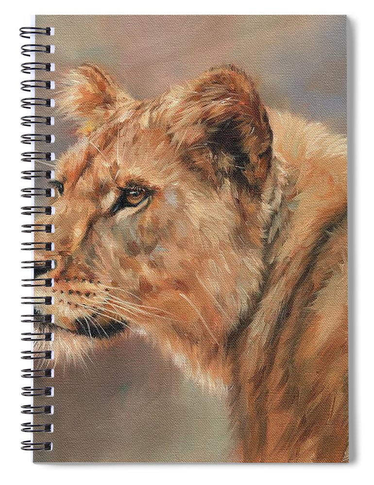 Lioness Spiral Notebook featuring the painting Lioness Portrait by David Stribbling