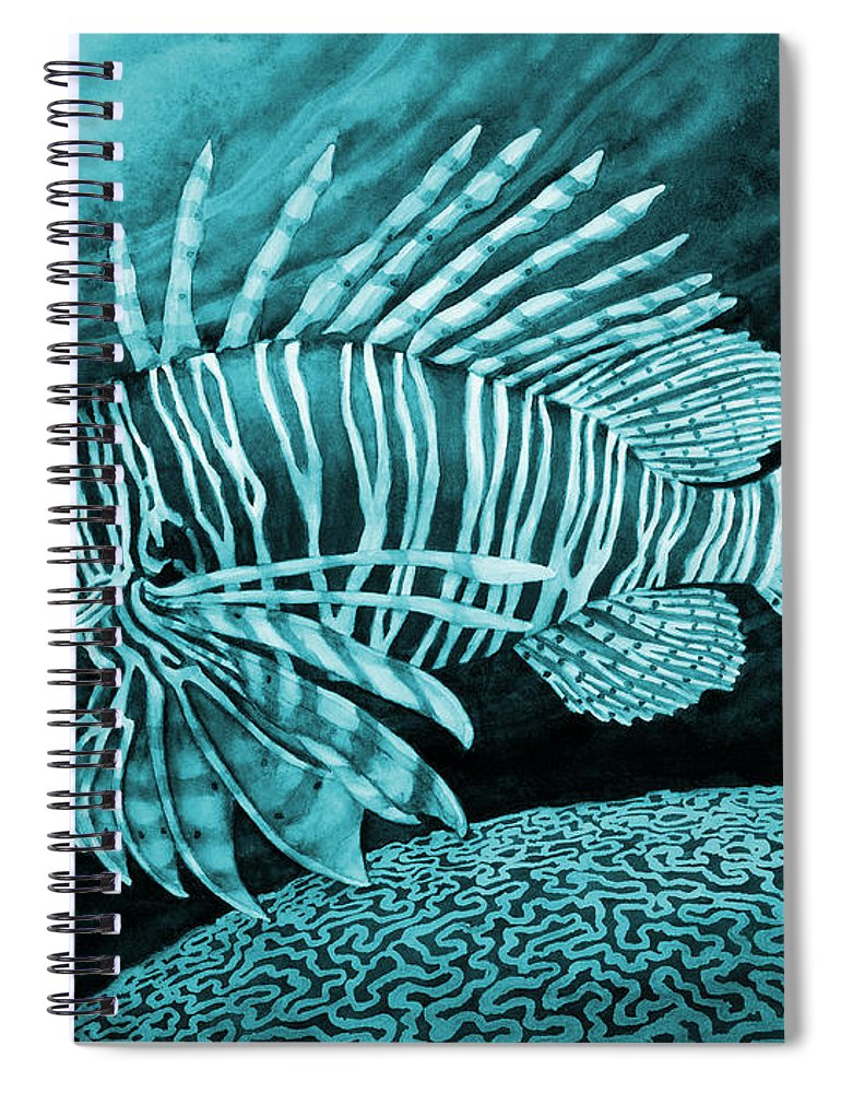 Lionfish Spiral Notebook featuring the painting Lionfish On Blue by Hailey E Herrera