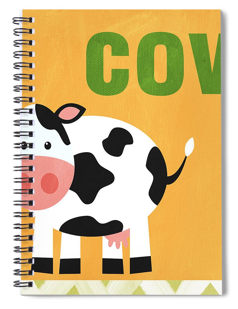 Cow Spiral Notebook featuring the painting Little Cow by Linda Woods