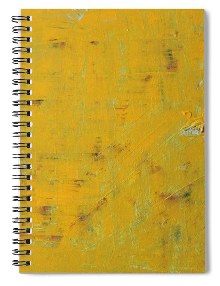 Yellow Spiral Notebook featuring the painting Little Dab Will Do Ya by Pam Roth O'Mara