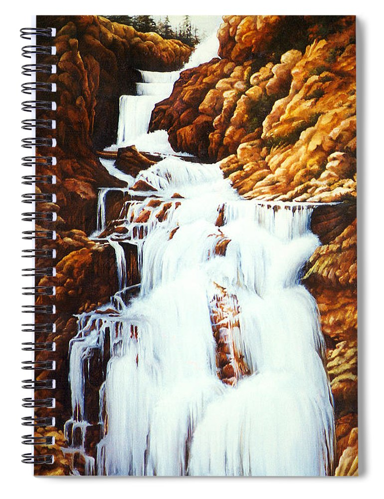 Waterfall Spiral Notebook featuring the painting Little Firehole Falls by Teri Rosario