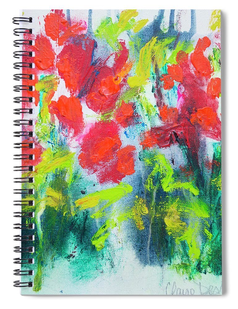 Abstract Spiral Notebook featuring the painting Little Garden 01 by Claire Desjardins