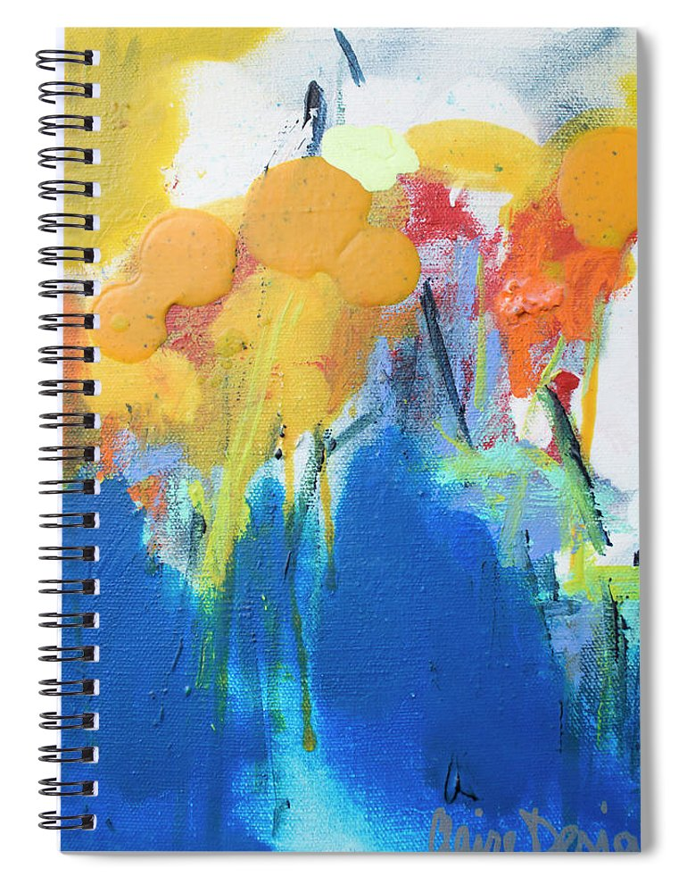 Abstract Spiral Notebook featuring the painting Little Garden 02 by Claire Desjardins