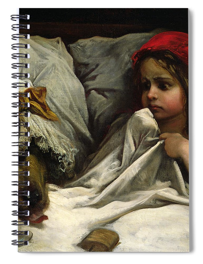 Wolf; Disguise; Child; Girl; Fairy Tale; Story; Glasses; Bed; Nightcap; Fear Spiral Notebook featuring the painting Little Red Riding Hood by Gustave Dore