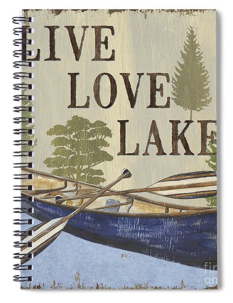 Lake Spiral Notebook featuring the painting Live, Love Lake by Debbie DeWitt