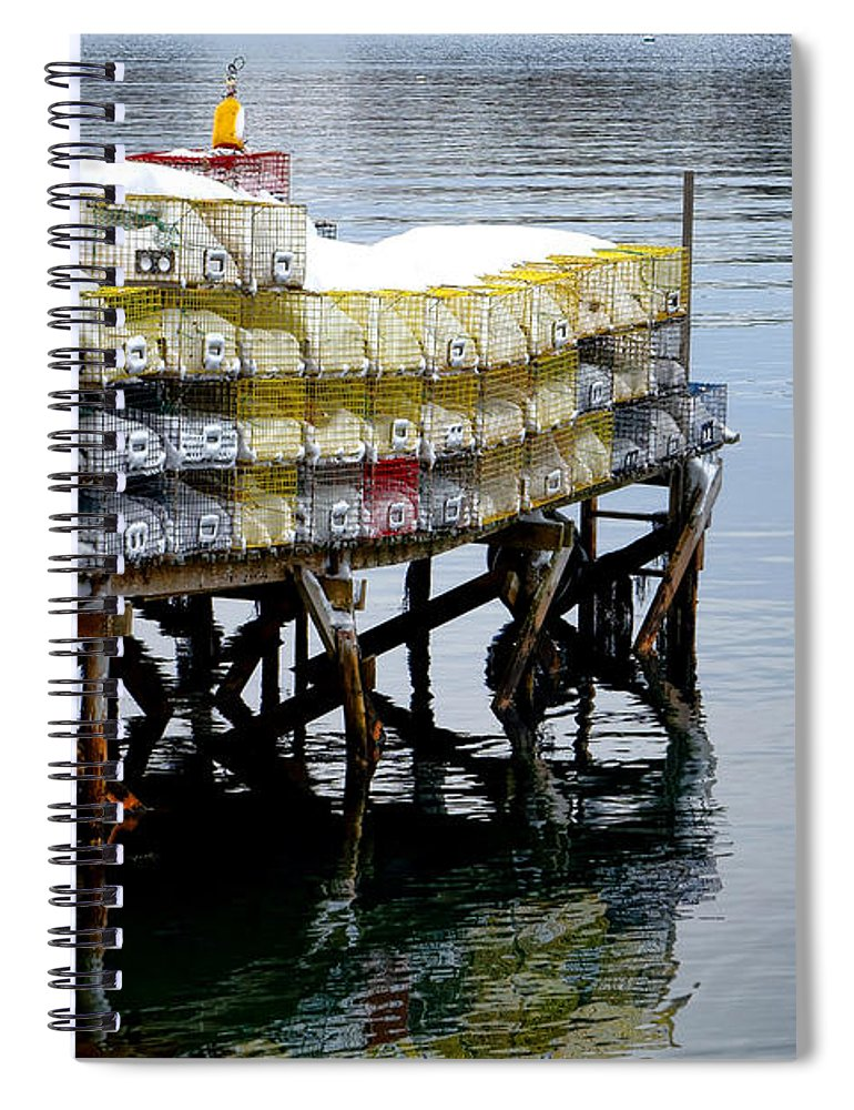 Maine Spiral Notebook featuring the photograph Lobster Traps In Winter by Olivier Le Queinec