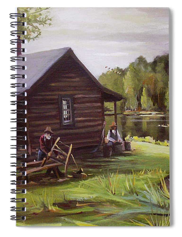 Log Cabin Spiral Notebook featuring the painting Log Cabin by the Lake by Nancy Griswold