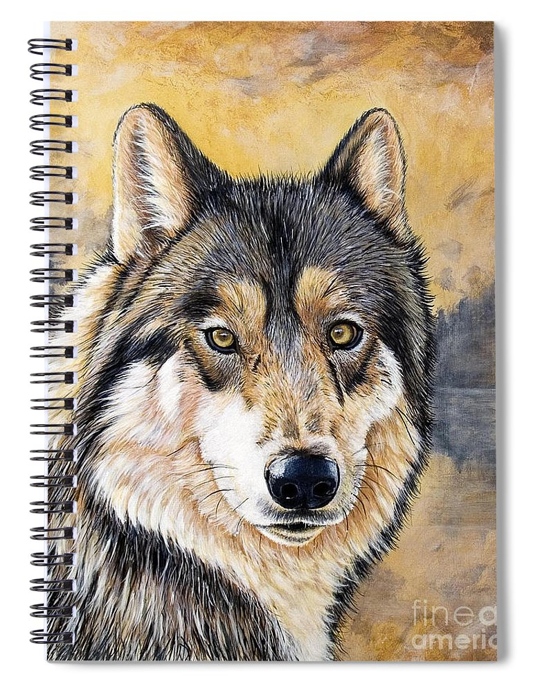 Acrylics Spiral Notebook featuring the painting Loki by Sandi Baker