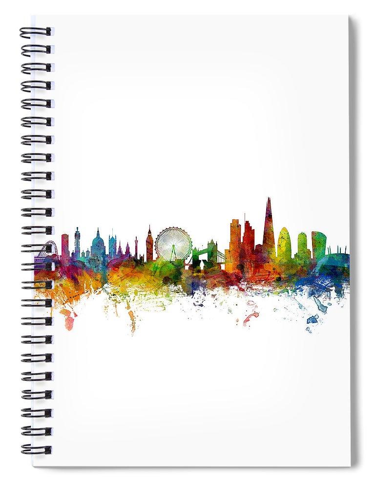 London Spiral Notebook featuring the digital art London England Skyline 16x20 Ratio by Michael Tompsett