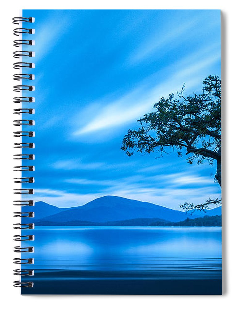 Milarrochy Bay Spiral Notebook featuring the photograph Lone tree Milarrochy Bay by Janet Burdon