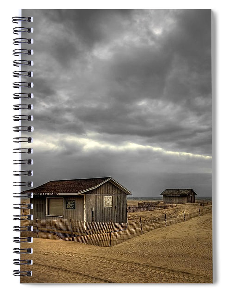Beach Spiral Notebook featuring the photograph Lonely Beach Shacks by Evelina Kremsdorf