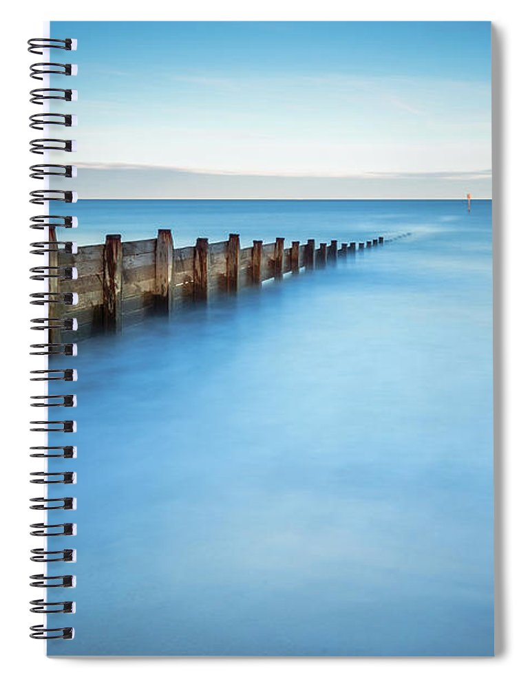 Northumberland Spiral Notebook featuring the photograph Long Exposure Of Blyth Beach Groyne by David Head