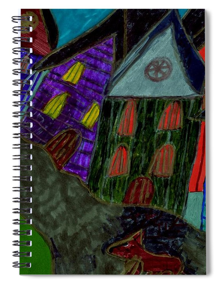 Dog Walking In The Street Through A Village Spiral Notebook featuring the mixed media Lost Dog by Elinor Helen Rakowski