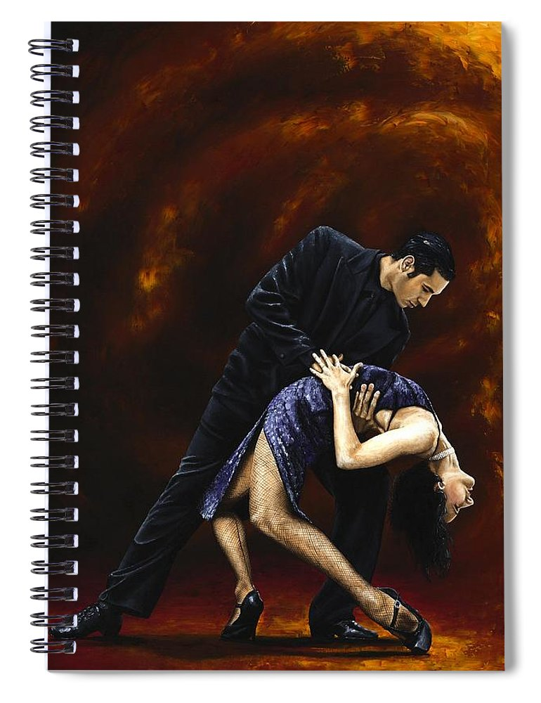 Tango Spiral Notebook featuring the painting Lost in Tango by Richard Young
