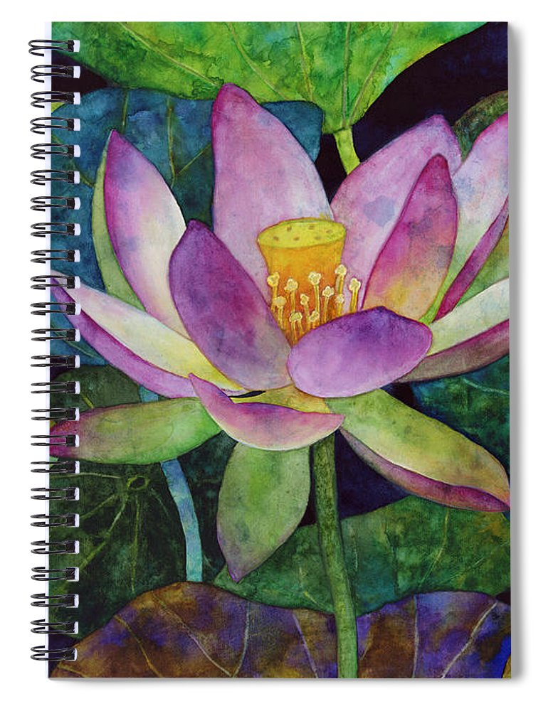 Watercolor Spiral Notebook featuring the painting Lotus Bloom by Hailey E Herrera