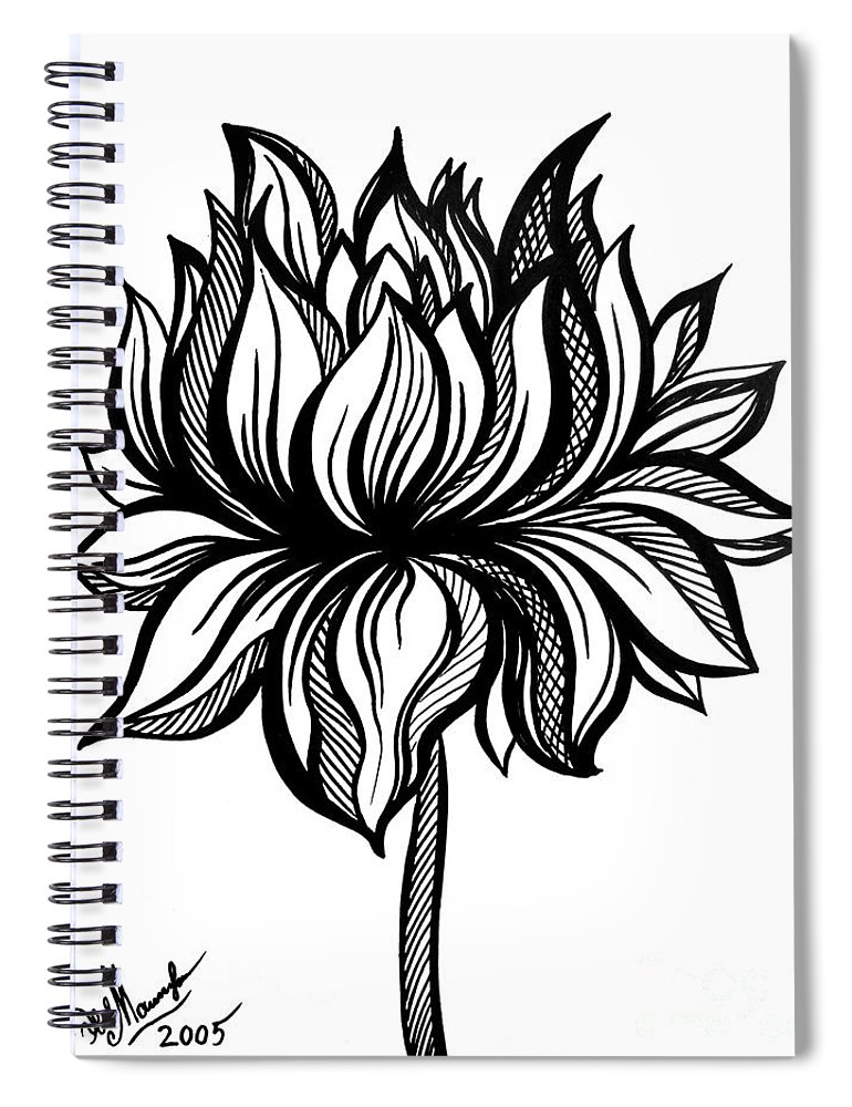 Lotus flower black white drawing spiral notebook for sale by sofia lotus flower spiral notebook featuring the drawing lotus flower black white drawing by sofia mightylinksfo