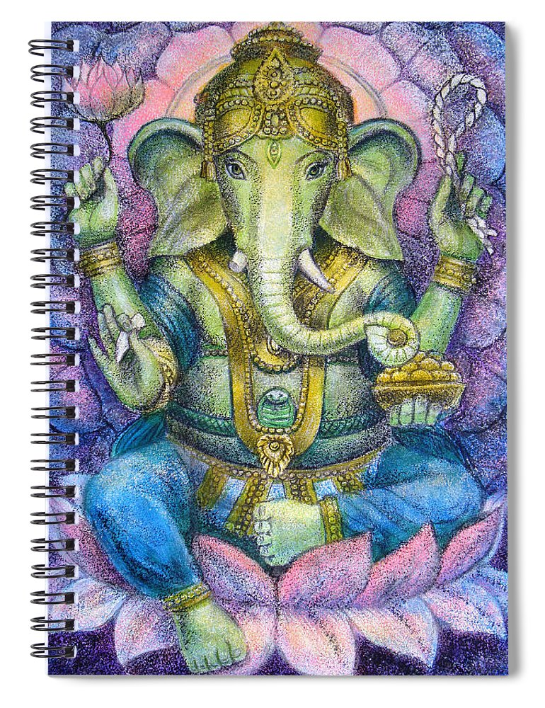 Lord Ganesha Spiral Notebook featuring the painting Lotus Ganesha by Sue Halstenberg