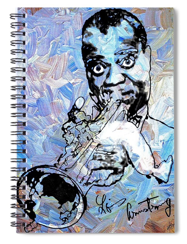 Louis Armstrong Spiral Notebook featuring the digital art Louis Armstrong by Linda Mears