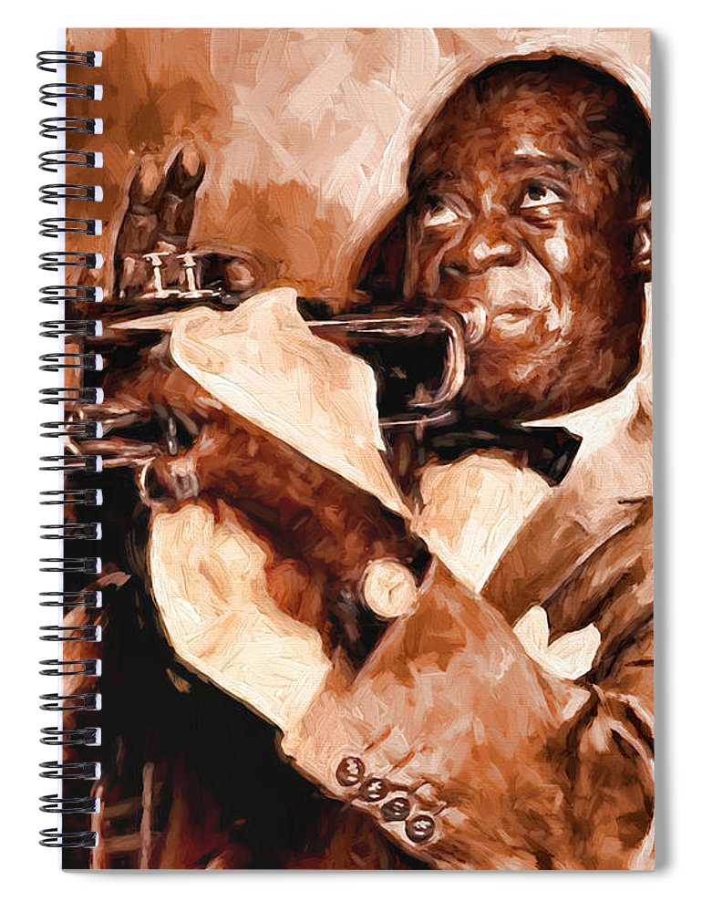 Louis Armstrong # Satchmo # Jazz Music # Trumpet # Jazz Art # Jazz Canvas Prints # Swing # Scat # Famous Trumpet Players # Jazz Swing Art # Spiral Notebook featuring the painting Louis Armstrong by Louis Ferreira