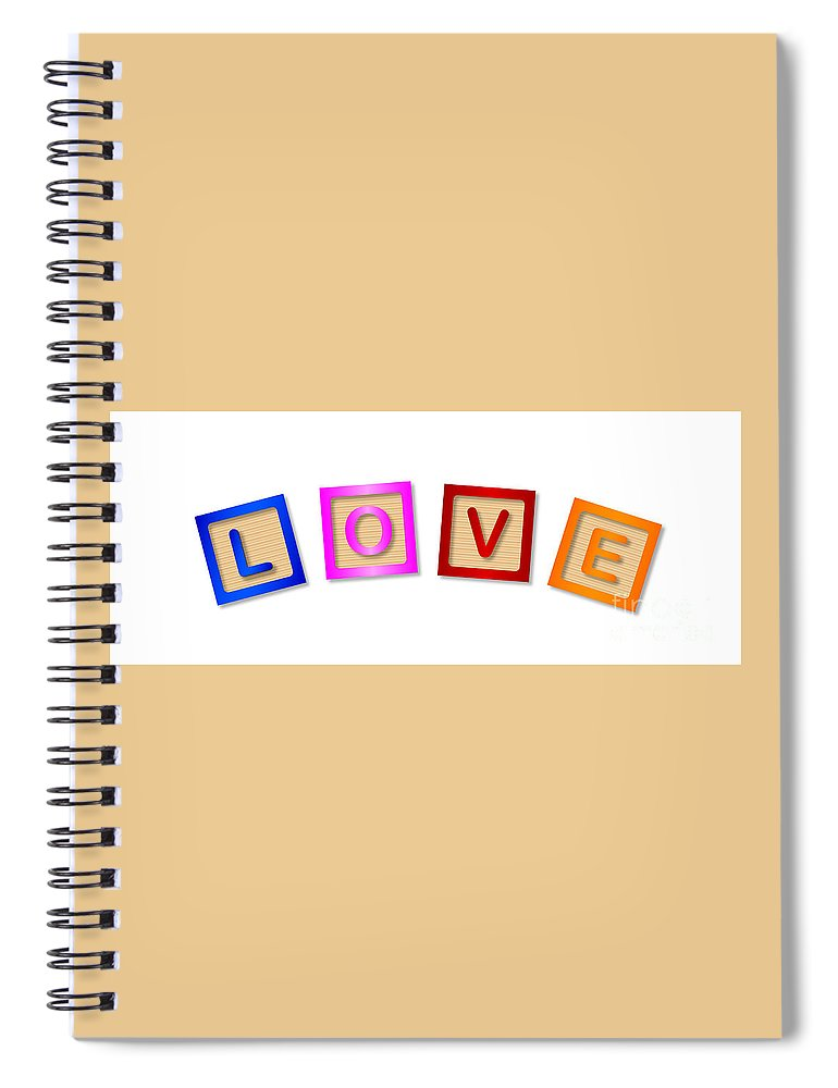 Love Spiral Notebook featuring the digital art Love Blocks by Bigalbaloo Stock