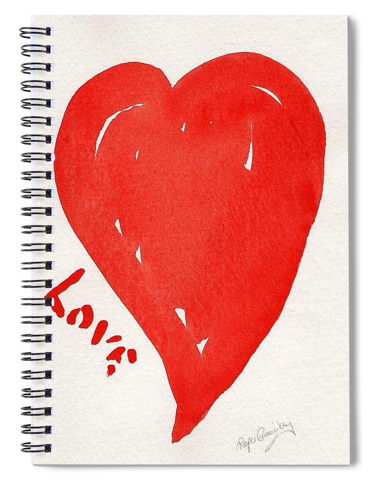 Love Spiral Notebook featuring the painting Love Is.... by Roger Cummiskey