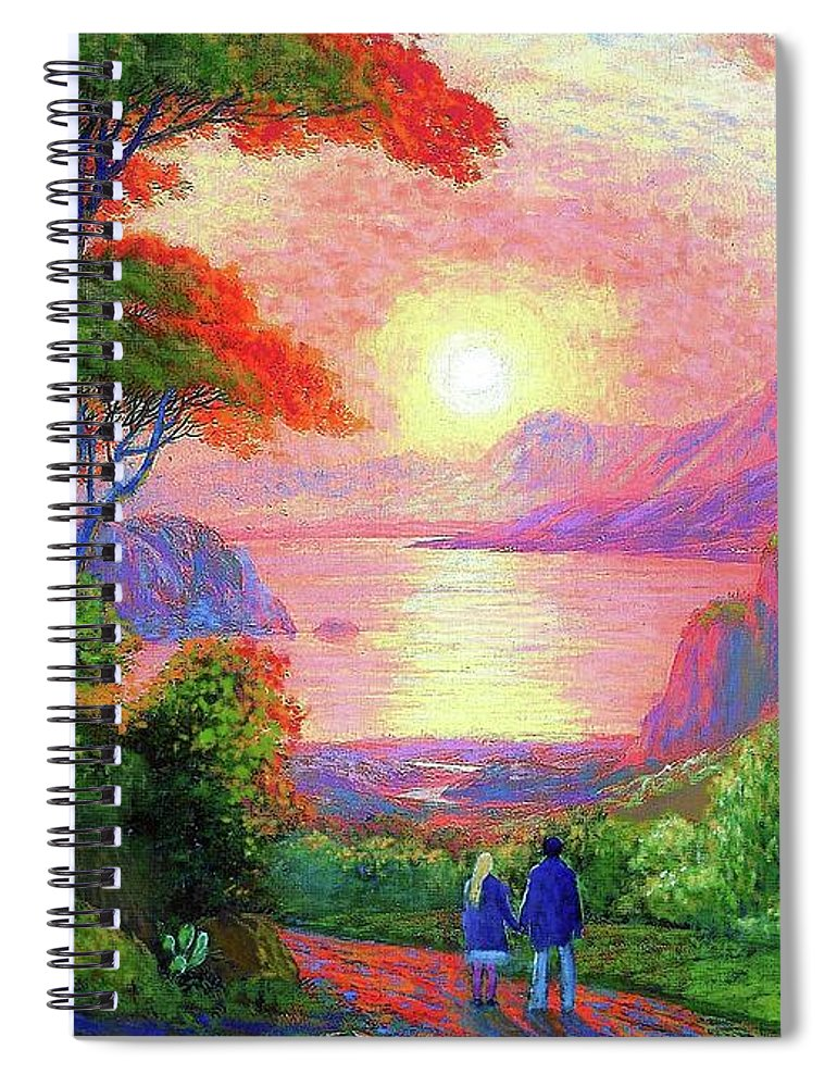 Tree Spiral Notebook featuring the painting Love is Sharing the Journey by Jane Small