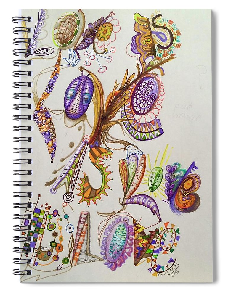 Lettering Spiral Notebook featuring the drawing Love Is by Suzanne Udell Levinger