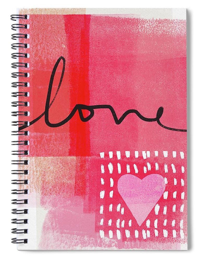 Love Spiral Notebook featuring the mixed media Love Notes- Art by Linda Woods by Linda Woods