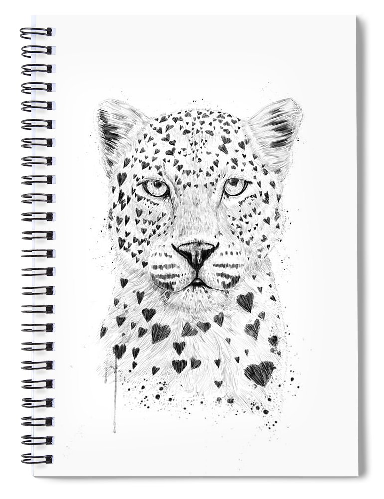 Leopard Spiral Notebook featuring the drawing Lovely leopard by Balazs Solti
