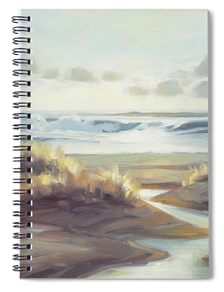 Ocean Spiral Notebook featuring the painting Low Tide by Steve Henderson