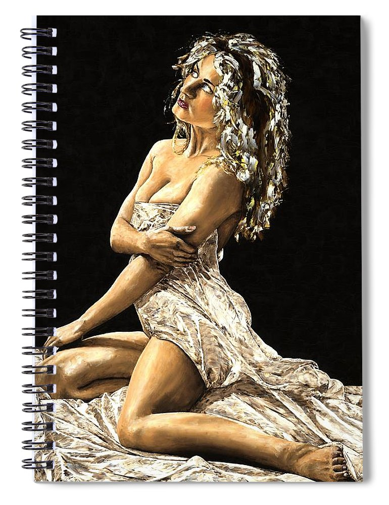 Nude Spiral Notebook featuring the painting Luminous by Richard Young