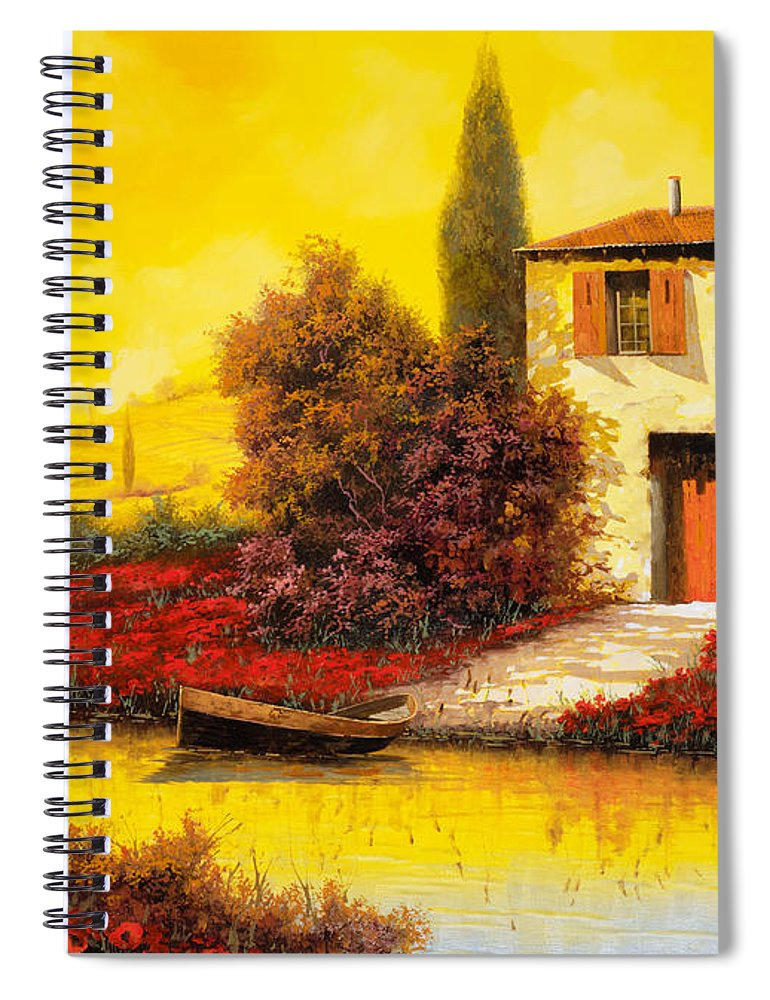 Landscape Spiral Notebook featuring the painting Lungo Il Fiume Tra I Papaveri by Guido Borelli