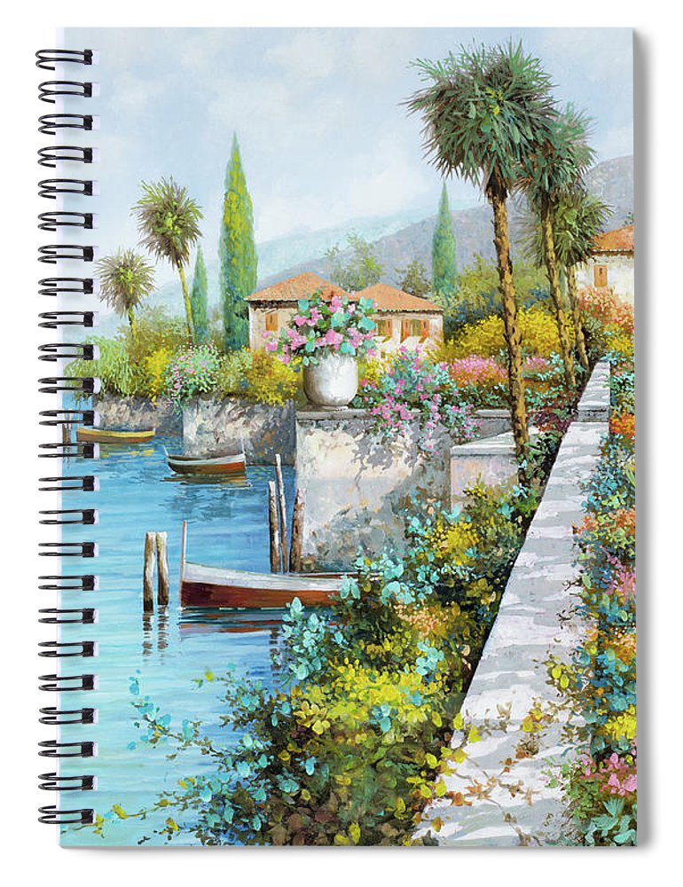 Lake Spiral Notebook featuring the painting Lungolago by Guido Borelli