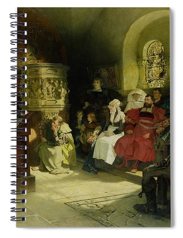 Vogel Spiral Notebook featuring the painting Luther Preaches Using His Bible Translation While Imprisoned At Wartburg by Hugo Vogel
