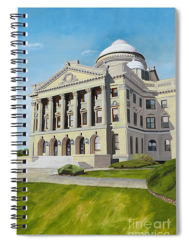 Wilkes-barre Spiral Notebook featuring the painting Luzerne County Courthouse by Austin Burke