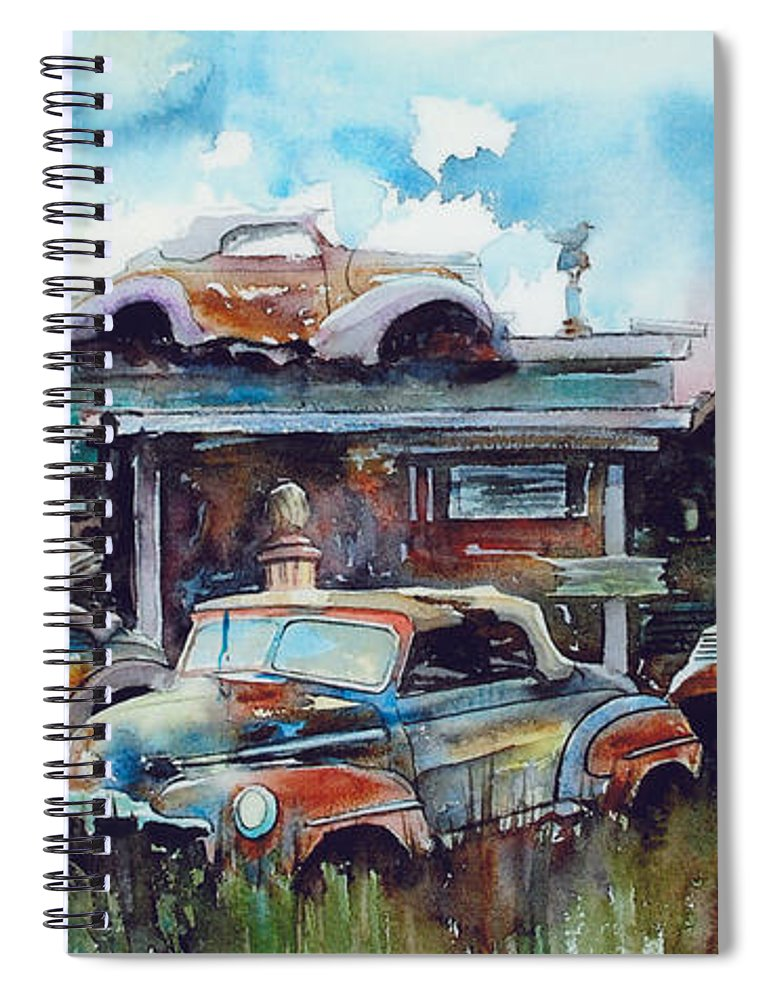 Fords Spiral Notebook featuring the painting Lytton Station by Ron Morrison